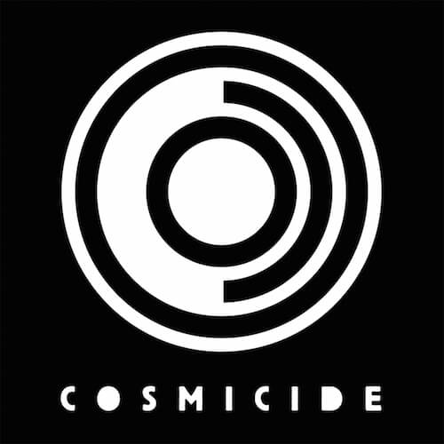 Cosmicide - Logo - White on Black - HR